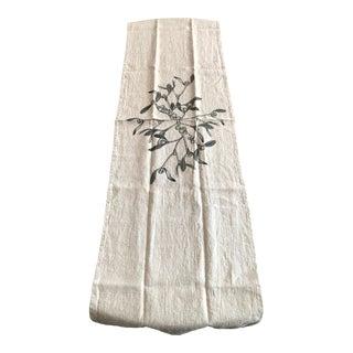 German Natural Linen Table Runner - Mistletoe For Sale