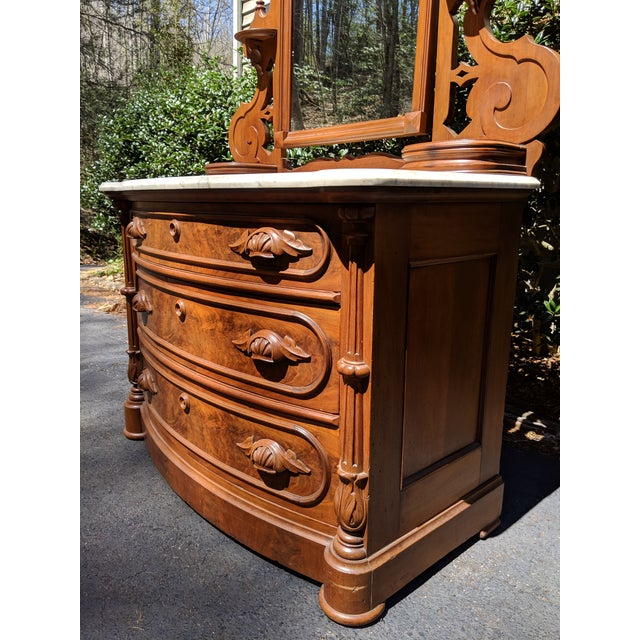 Early 20th Century 20th Century Renaissance Revival 3-Drawer Marble Top Walnut Dresser & Vanity Mirror For Sale - Image 5 of 13