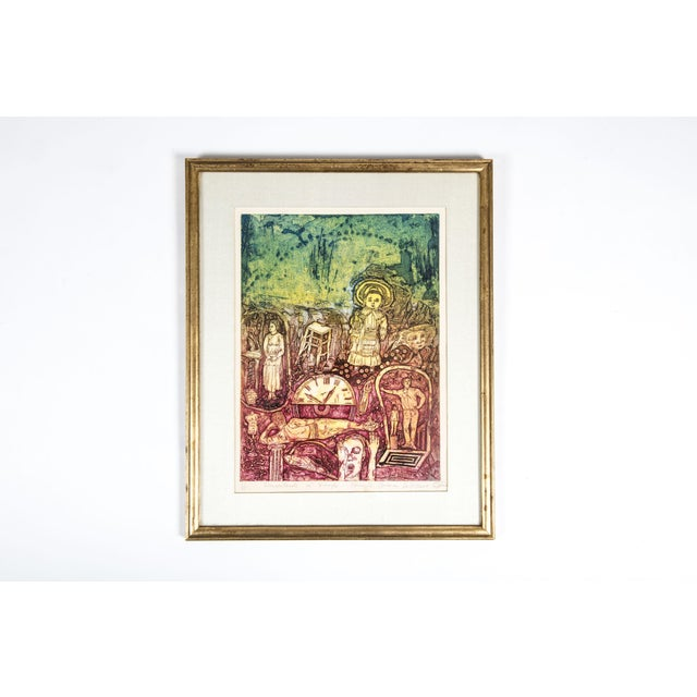 Red Late 20th Century Numbered 52/70 Drawing With Giltwood Frame For Sale - Image 8 of 8