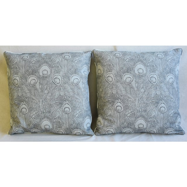 Pair of custom-tailored reversible designer accent pillows. Pillow fronts are a vintage/never used linen and cotton...