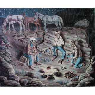 Cowboys, Campfire & Coffee Lithograph