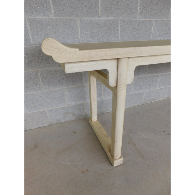 """Late 20th Century McGuire of San Francisco Distressed Finish Pagoda Style Console Table 96""""w For Sale - Image 5 of 13"""