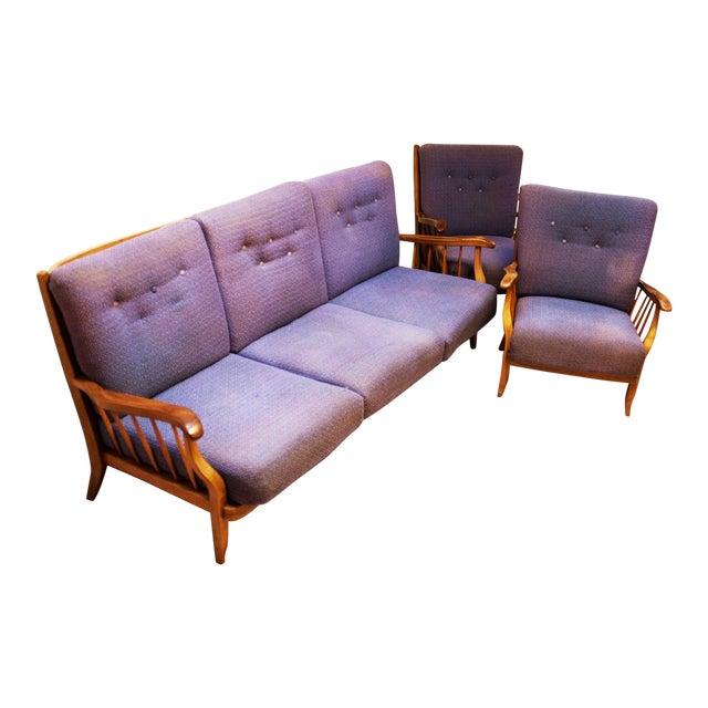 Purple living room set by Hans Wölfl - Set of 3 For Sale