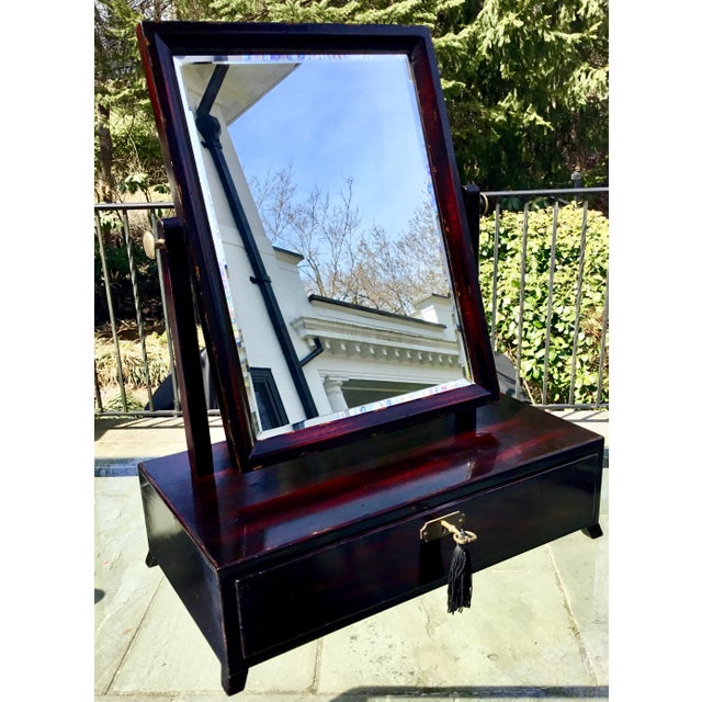 Asian Modern Rosewood Lacquer Dressing Table Mirror For Sale - Image 13 of 13