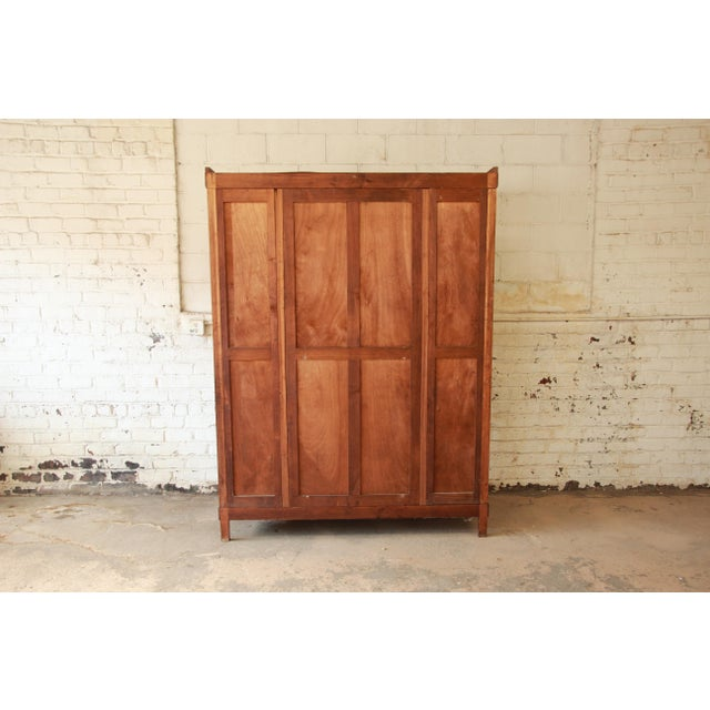 Vintage French Art Deco Burl Wood Mirrored Front Knockdown Wardrobe For Sale - Image 11 of 11