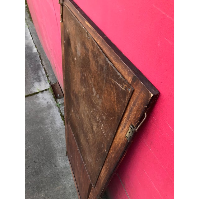 Antique Architectural Fragment Mercury Mirror Panel Inset & Hardware Wood Door For Sale - Image 10 of 12