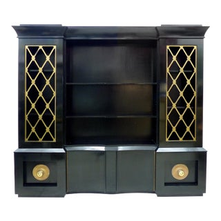 Vintage Regency Style Ebonized Breakfront Bookcase Cabinet W/ Brass Grillwork For Sale