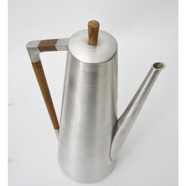 Modern Pewter and Mahogany Coffee and Tea Service by KMD Royal Holland - 5 Pc. Set For Sale - Image 10 of 13