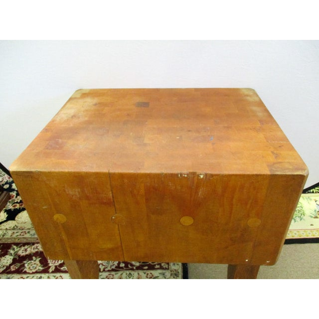 Country Vermont Maple Butcher Block Table For Sale - Image 3 of 5