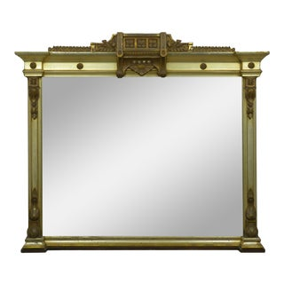 Large Aesthetic Antique Over-Mantel Giltwood Mirror, 19th Century For Sale