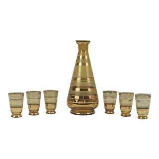 Mid-Century Modern Gold Decanter and 6 Glasses - 7 Pieces For Sale