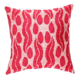 Turkish Red Valvet Silk Ikat Pillow For Sale