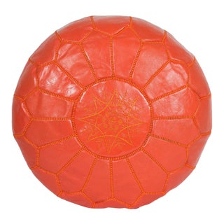 Modern Moroccan Orange Pouf For Sale
