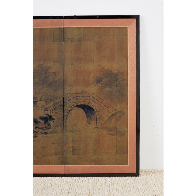 Mid 20th Century Japanese Four-Panel Screen of Pagoda Bridge Landscape For Sale - Image 5 of 13