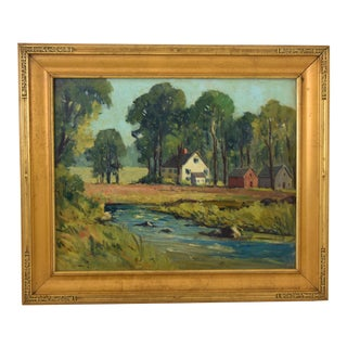 Lillian B. Lunt (1868-1945) Landscape Oil Painting Oil Painting W/ Gold Frame For Sale