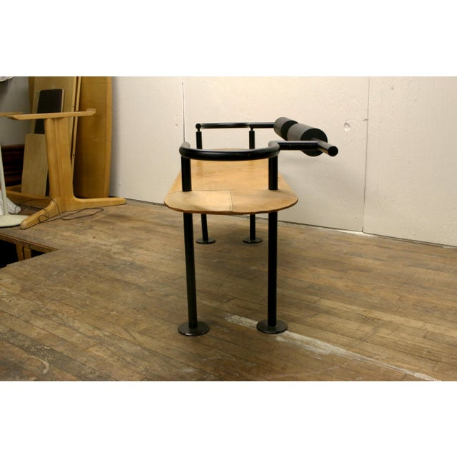 1970s Vintage Ettore Sottsass Postmodern Memphis Group Style Steel and Leather Bench For Sale - Image 5 of 13