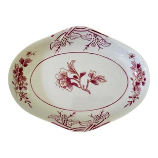1980s Hollywood Regency Pink and White Floral Mottahedeh Vista Alegre Serving Dish For Sale
