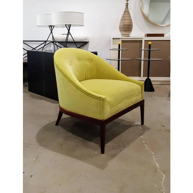 1960s Chartruese Velvet Slipper Chair - Image 3 of 7
