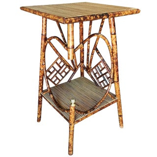 Restored Aesthetic Movement Tiger Bamboo Pedestal Side Table For Sale