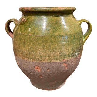 19th Century French Country Green Glazed Pottery Confit Pot From the Perigord For Sale