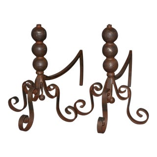 Jan Barboglio Wrought Iron Andirons - a Pair For Sale