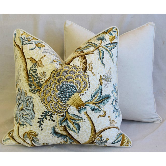 """French Jacobean Floral Cotton & Linen Feather/Down Pillows 24"""" Square - Pair For Sale - Image 12 of 13"""