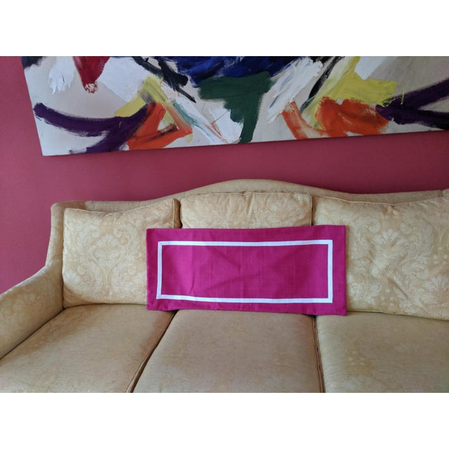 Hollywood Regency Custom Magenta Pink Linen Pillow Cover For Sale - Image 3 of 12