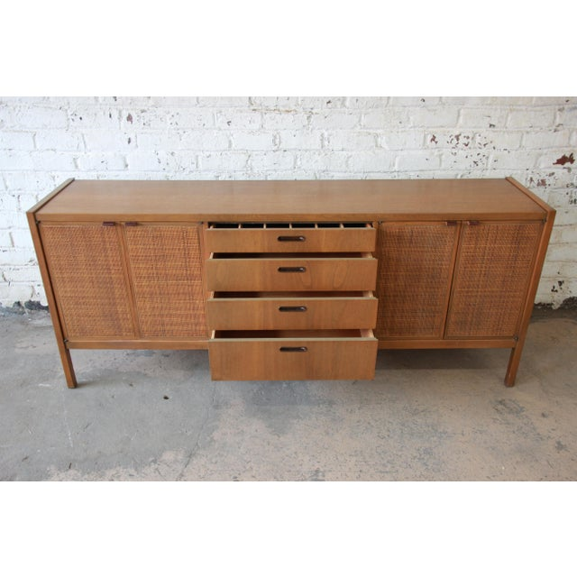Mid-Century Modern Woven Front Credenza by Founders For Sale In South Bend - Image 6 of 11
