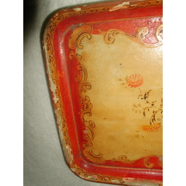 1900's Hand Painted Vibrant Papier Mache Tray - Image 4 of 5