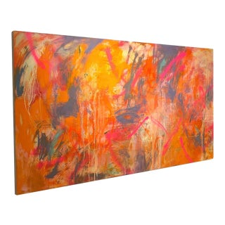 Large Abstract Expressionist Oil Painting on Panel 47 X 84 For Sale