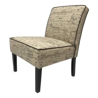French Script Slipper Chair