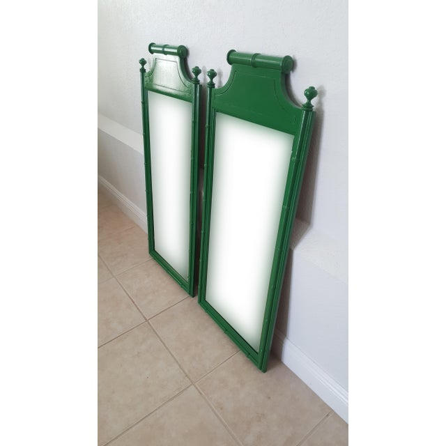 Henry Link Henry Link Bali Hai Faux Bamboo High Gloss Green Dresser Mirrors - a Pair For Sale - Image 4 of 6