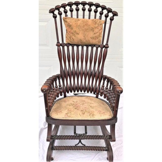 "Late 19th Century George Hunzinger Highback ""Lollipop"" Platform Rocking Chair For Sale - Image 13 of 13"