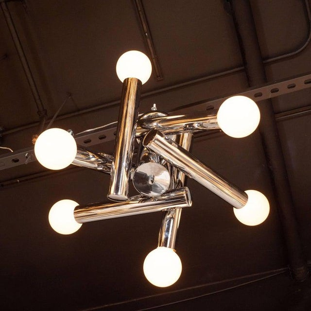 Metal Mid-Century Modern Sculptural Chrome and Frosted Glass Chandelier by Sciolari For Sale - Image 7 of 8