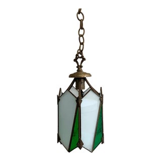 1920s Arts & Crafts Stained Glass Pendant Light For Sale