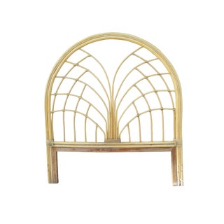 Vintage Boho Chic Sculptural Bamboo & Rattan Full Size Headboard For Sale