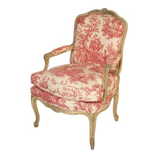 1930s Louis XV Provincial Painted Armchair For Sale