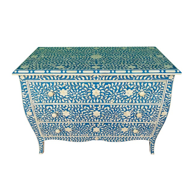 French Style Curved Bone Inlay Blue Chest - Image 1 of 4