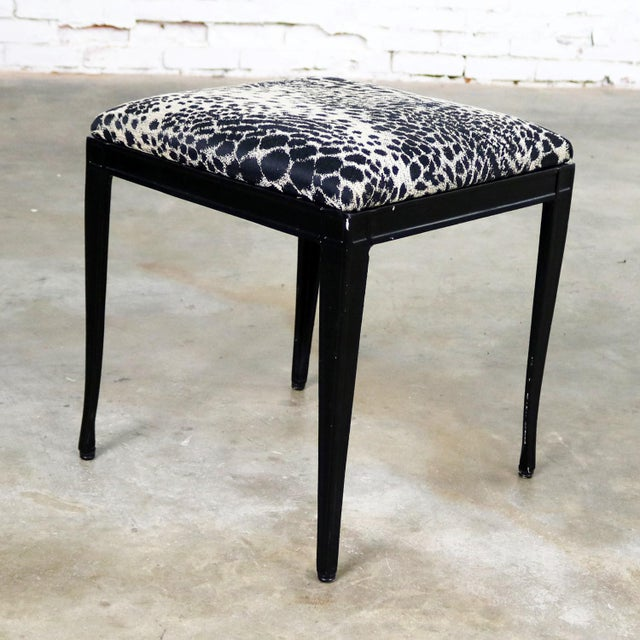 Black Art Deco and Animal Print Bench Ottoman Footstool Cast Aluminum by Crucible For Sale - Image 6 of 11