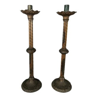 19th Century Brass Candlesticks - a Pair