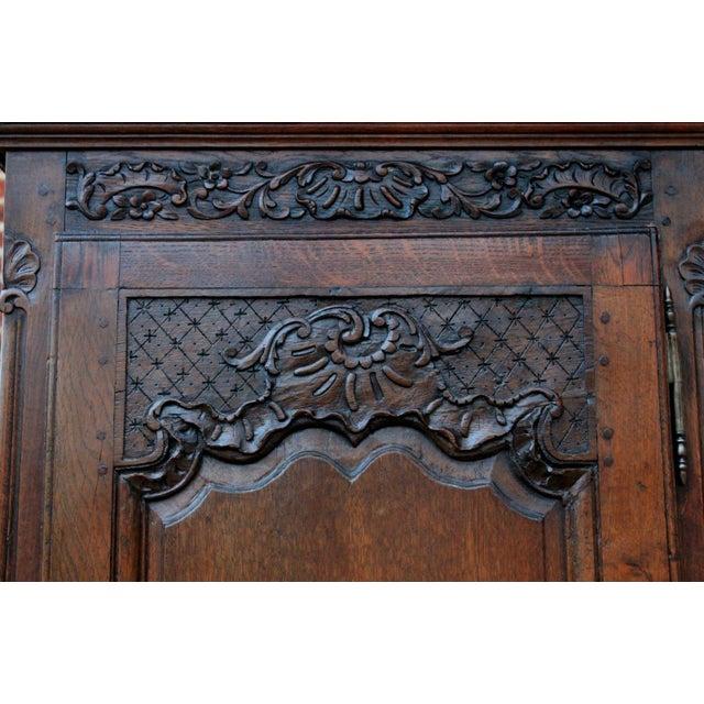 Oak Antique French Country Oak 19th Century Liergues Bonnetiere Cabinet Armoire Wardrobe Bookcase For Sale - Image 7 of 13