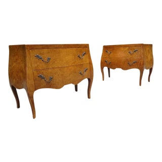 Vintage Italian Burl Rococo Style Commodes ~ a Pair