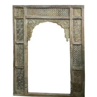 Antique Hand Carved Wooden Arch Door Frame For Sale