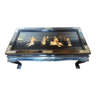 1900s Mother of Pearl Inlaid Lacquer Coffee Table For Sale