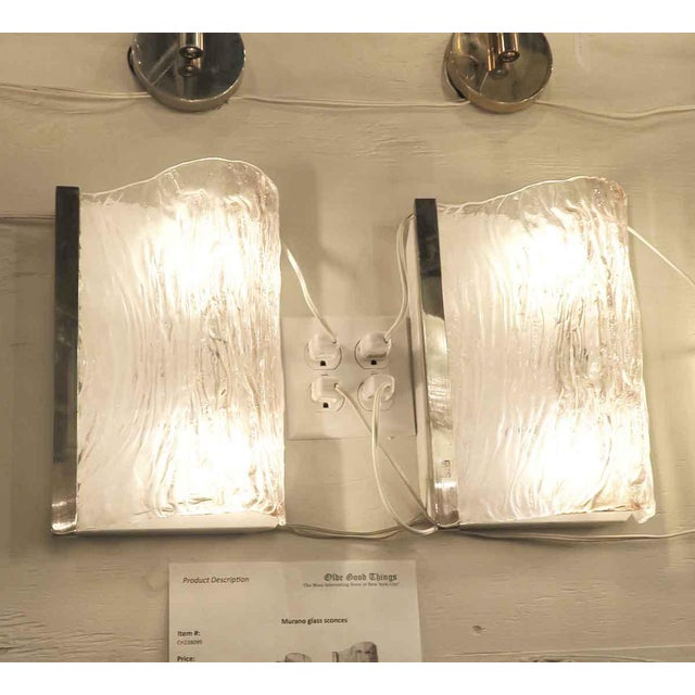 Modern Textured Wavy Murano Glass Sconces - a Pair For Sale - Image 3 of 7