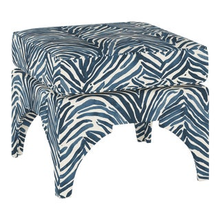 Ottoman, Washed Zebra Blue For Sale