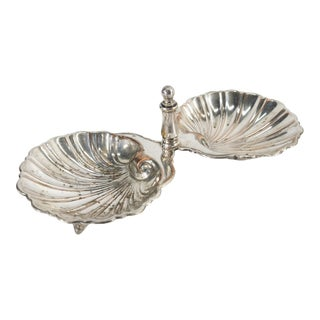 19th Century English Sheffield Silverplate Double Shell Soap Dish For Sale