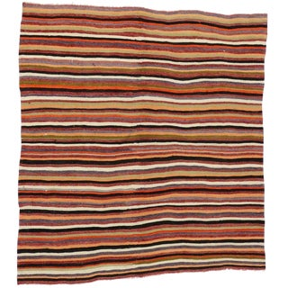 20th Century Turkish Flat-Weave Kilim Rug With Stripes For Sale