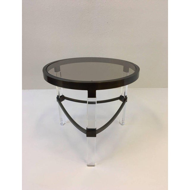 Charles Hollis Jones Bronze and Acrylic Side Table by Charles Hollis Jones For Sale - Image 4 of 7