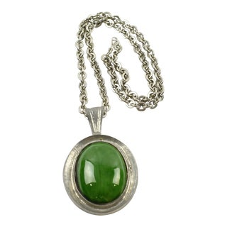 Mid-Century Necklace Space Age Pewter and Green Ceramic Pendant For Sale